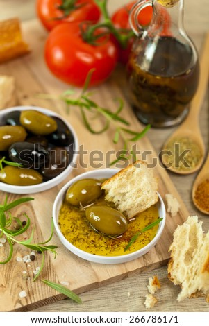 Italian food Bread with Olive Oil. Selective focus. - stock photo