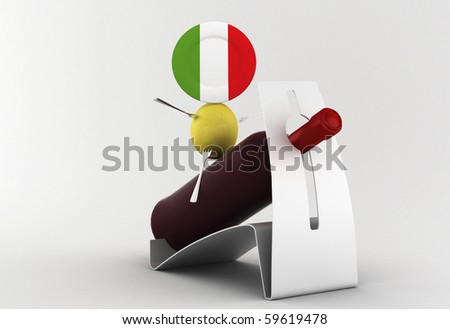 Italian food: character with the food and the wine - stock photo
