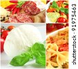 Italian food collage - stock photo