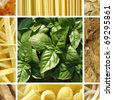 Italian food collage including 9 pictures of pasta, bread, pizza - stock photo