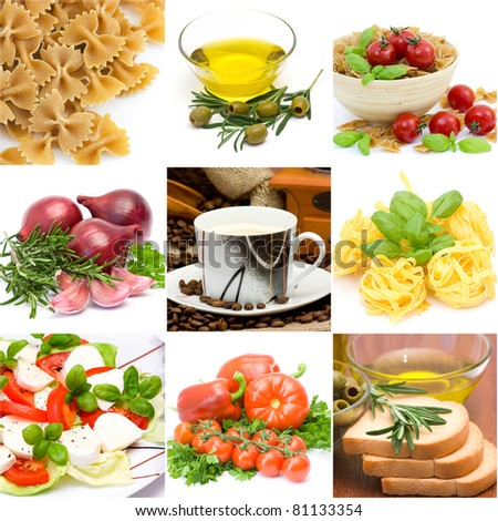 italian food collage made from nine photographs - stock photo