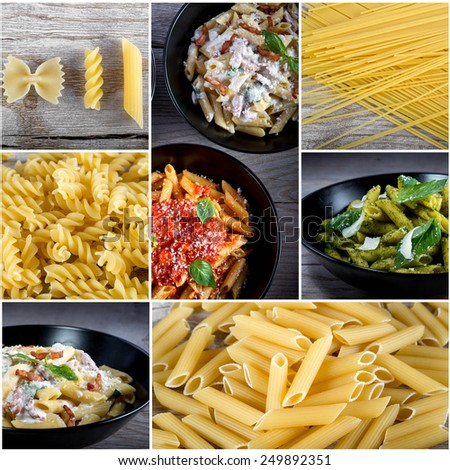 Italian food collage with dried pasta and cooked pasta with sauces. Top view