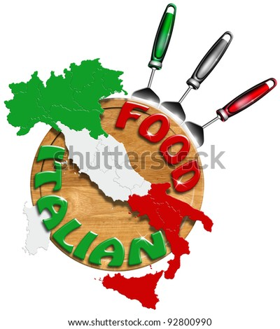 Italian Food / Concept of Italian food with kitchen tools and map of Italy - stock photo