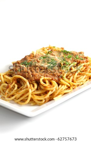 italian food : fresh spaghetti and tomato sauce with pork pasly in white background - stock photo