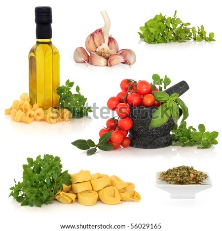 Italian food ingredients collection, isolated over white background. - stock photo