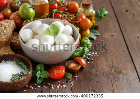 Italian food ingredients for caprese salad on wooden background - stock photo