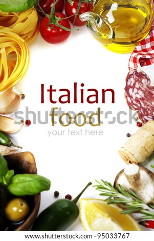 Italian food. Ingredients for cooking (tomatoe, garlic, pepper, mushroom, basil, olives, olive oil, salami) over white (with easy removable sample text) - stock photo