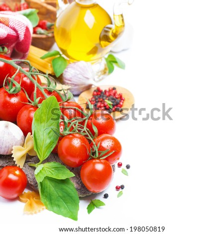 Italian food ingredients - fresh cherry tomatoes, basil and pasta, isolated on white - stock photo