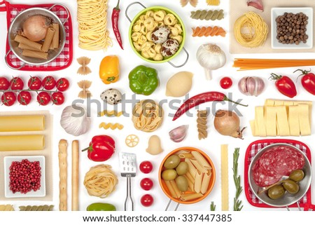 Italian food ingredients on white background top view