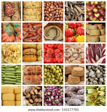italian food market collage - stock photo