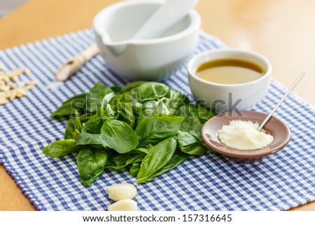 Italian food - pesto and ingridients. What you need - stock photo
