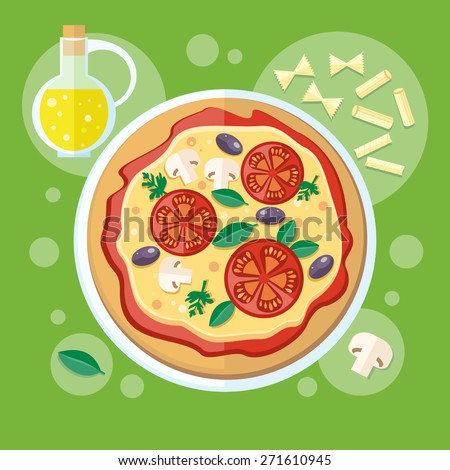 Italian food. Pizza with its ingredients. Concept in flat design. Raster version - stock photo