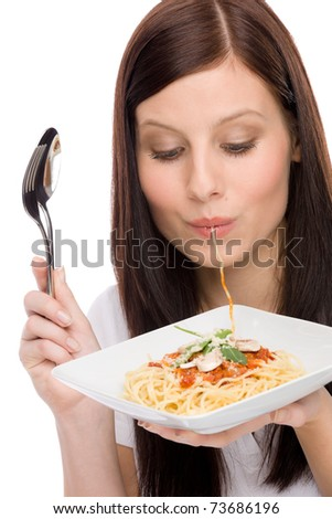 Italian food - portrait of healthy woman eat spaghetti with sauce - stock photo