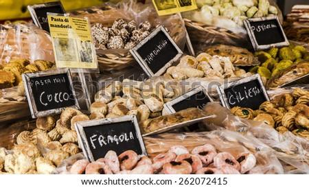 Italian food, street market photo. - stock photo