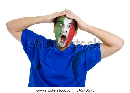 italian football fan cheering for his national team, isolated on white background - stock photo