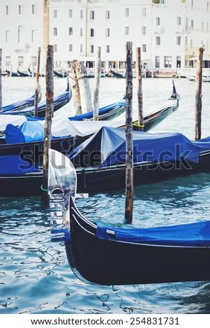Italian gondola, Venice, Italy. A detail. - stock photo