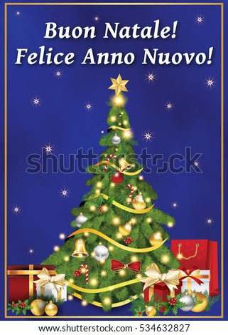 Merry christmas and happy new year in italian christmas cards italian greeting card winter holiday text stock ilration merry christmas m4hsunfo