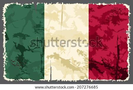 Italian grunge flag. Raster version - stock photo