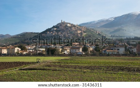 Italian hilltop town - Trevi - stock photo
