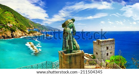 Italian holidays - panorama of Monterosso al mare (Liguria) - stock photo