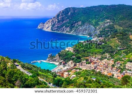 Italian holidays - picturesque scenery of Monterosso al mare - Cinque terre - stock photo