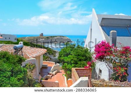 italian house by the sea. Shot in Sardinia - stock photo