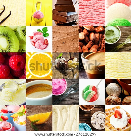 Italian ice cream dessert collage with a variety of different flavors with fresh tropical fruit, chocolate bonbons, cappuccino coffee, gelato, parfait, and waffle and cream for delicious summer treat - stock photo