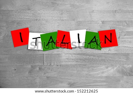 Italian / Italy - sign in national flag colours - art design for country, people or food - stock photo