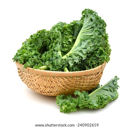 Italian kale leaf on basket - stock photo