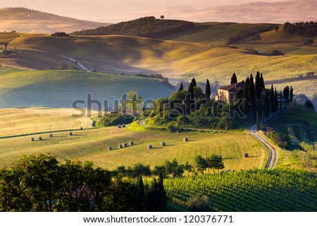 Italian landscape, Tuscany - stock photo