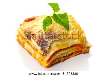 Italian lasagna dish close up - stock photo