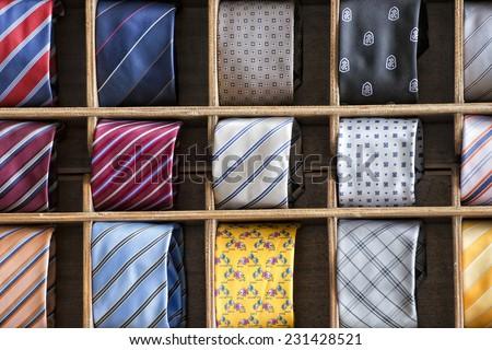 italian made silk tie on display stand - stock photo