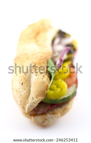 Italian meat, ham and salami, sub sandwich with the works  - stock photo