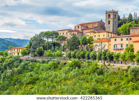 Italian medieval town of Montecatini Alto in Tuscany - stock photo
