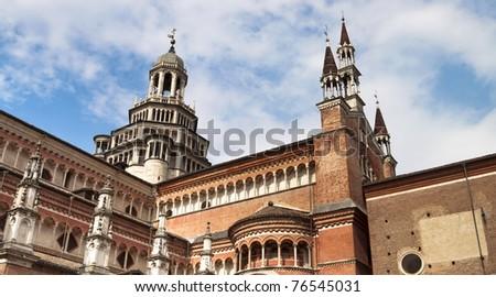Italian Monastery Certosa di Pavia exterior church panorama - stock photo