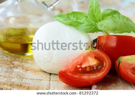 Italian mozzarella cheese with tomato and basil - stock photo