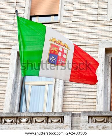 Italian Nautical Flag in Naples - stock photo
