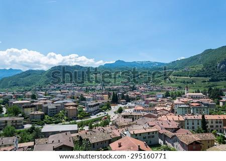 Italian north landscape with vineyards near the Garda Lake - stock photo