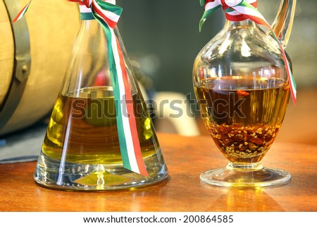 Italian olive oil and herbal vinegar bottles