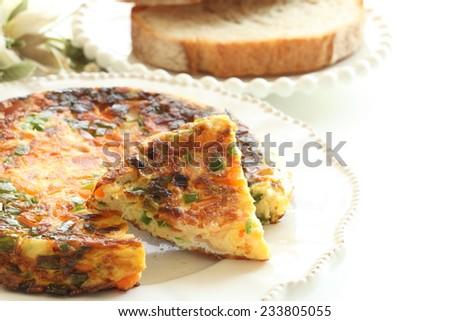 Italian omelete, Frittata - stock photo