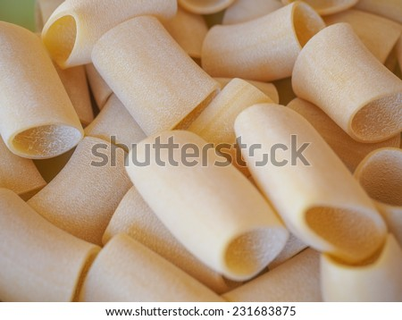 Italian paccheri pasta in the shape of large tubes from Campania and Calabria