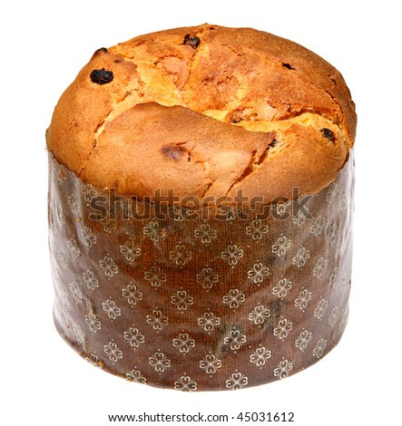 Italian panettone in front of a white background - stock photo