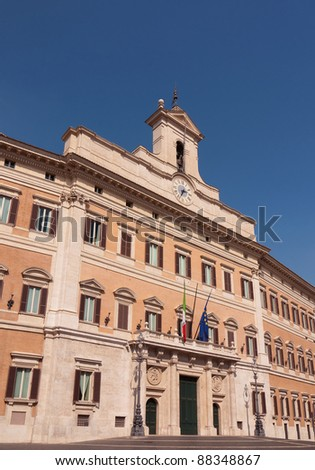 Italian Parliament building (Chamber of Deputies), Palazzo Montecitorio, Rome - stock photo