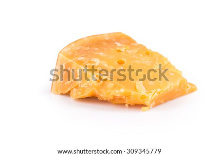 Italian Parmesan Cheese on white Background close up - stock photo