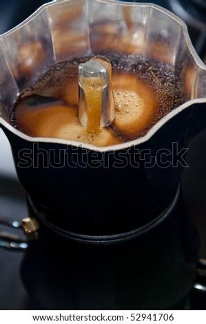 Italian passion for coffee preparation - stock photo