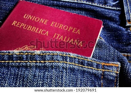 italian passport - stock photo