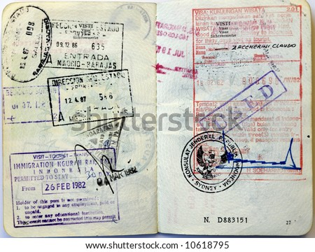 Italian passport. Indonesia entry visa and border stamps