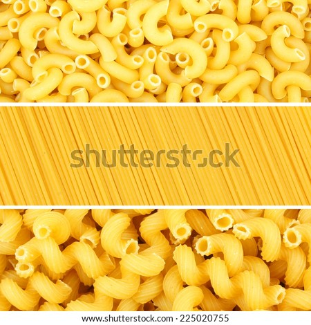 Italian pasta collage of three various borders or backgrounds - stock photo