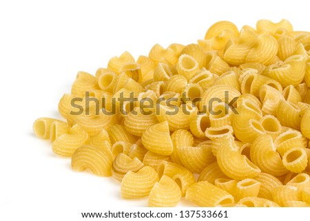 italian pasta (macaroni) isolated on white background - stock photo