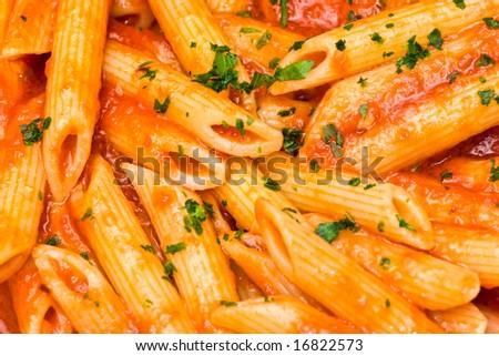 Italian Pasta. penne all'arrabbiata. - stock photo